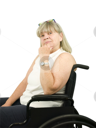 Thinking Senior Woman in Wheel Chair stock photo, Thinking Senior Woman in Wheel Chair on White Background by John Teeter