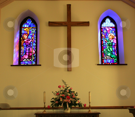 Church Interior With Stained Glass Windows stock photo, Church Interior With Stained Glass Windows, Cross and Altar by William Perry