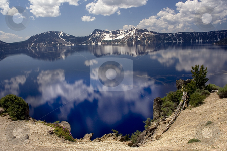 Crater Lake Reflections Oregon stock photo, Reflections Snow Mountains, Crater Lake National Park, Oregon, Northwest by William Perry