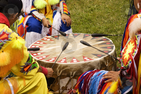 Indian Pow Wow Drum stock photo, Indians around a drum at a Pow Wow Indians druming by William Perry