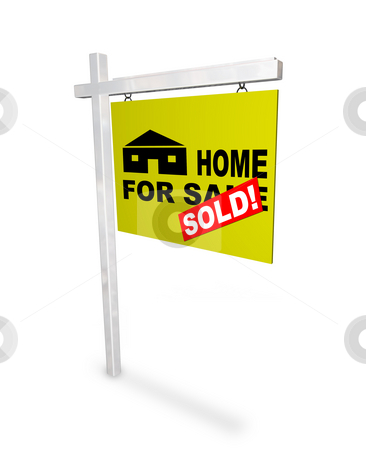 Home for Sale - Sold Sign stock photo, A sign Home for Sale - with a red sticker over it reading Sold by Chris Lamphear
