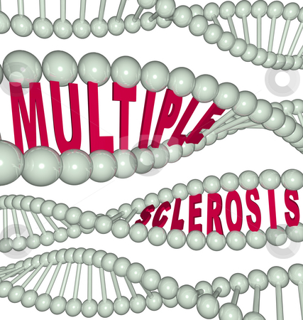 Multiple Sclerosis in DNA Strand stock photo, The words Multiple Sclerosis hidden in a strand of DNA by Chris Lamphear