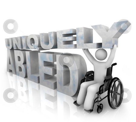 Not Disabled - Uniquely Abled stock photo, A person in a wheelchair beside the words Uniquely Abled by Chris Lamphear