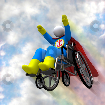 Wheelchair Superhero in Flight stock photo, A person in a wheelchair takes to the sky - his emblem reads Yes I Can by Chris Lamphear