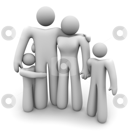 Family Standing Together - Dad, Mom and 2 Kids stock photo, A family of four people stands together holding hands: mother, father and two children by Chris Lamphear