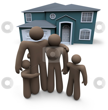 Family Stands in Front of House stock photo, An African American family stands in front of their home by Chris Lamphear