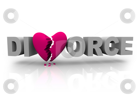 Divorce - Word with Broken Heart stock photo, The word divorce with a pink broken heart for the V by Chris Lamphear