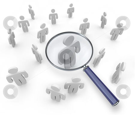 Magnifying Glass Targets One Person stock photo, A magnifying glass hovers over one person in a group by Chris Lamphear