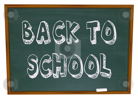 Back to School - Words on Chalkboard stock photo, The words Back to School written on a classroom chalkboard by Chris Lamphear