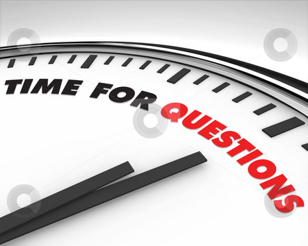 Time for Questions - Clock stock photo, White clock with words Time for Questions on its face by Chris Lamphear
