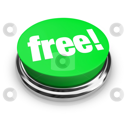 Free - Green Button stock photo, A green button with the word Free on it by Chris Lamphear