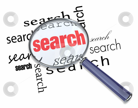 Search - Magnifying Glass on Words stock photo, A magnifying glass hovering over the word Search by Chris Lamphear