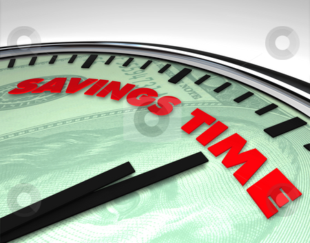 Savings Time - Clock stock photo, Clock with words Savings Time on its face by Chris Lamphear