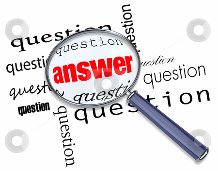 Questions and Answers - Magnifying Glass on Words stock photo, A magnifying glass hovering over many questions to find the answer by Chris Lamphear