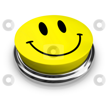 Happy Smiley Face - Yellow Button stock photo, The smiley face symbol on a yellow button by Chris Lamphear