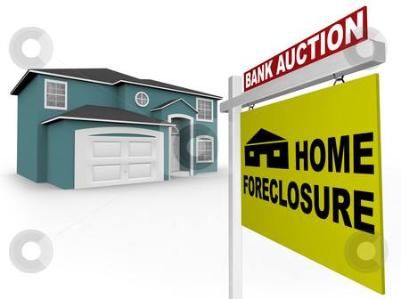 Home Foreclosure Sign in Front of House stock photo, A home foreclosure sign stands in front of an attractive home by Chris Lamphear