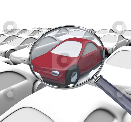 Searching for Right Vehicle - Magnifying Glass stock photo, Using a magnifying glass to find the best automobile by Chris Lamphear