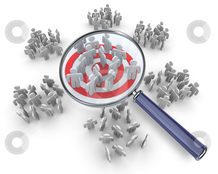 Searching for a Niche Group - Magnifying Glass stock photo, One group of customers standing on a red target bullseye, with magnifying glass hovering above it by Chris Lamphear