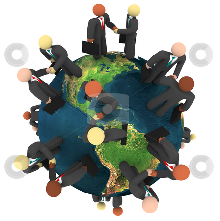 Global Business Deals - International Handshakes stock photo, A network of global businessmen shaking hands to close deals by Chris Lamphear