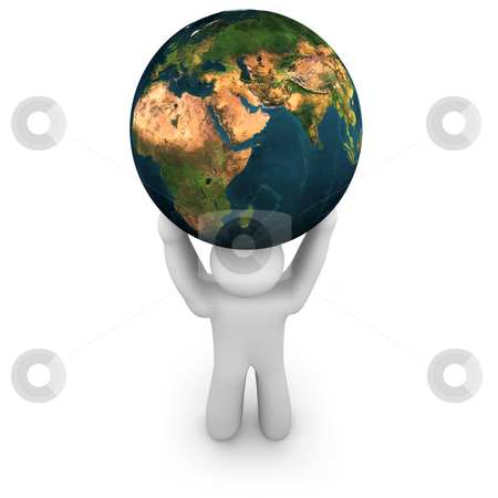 Person Lifting the World - Asia stock photo, A person lifts the planet Earth, showing Asia, Europe and Africa by Chris Lamphear