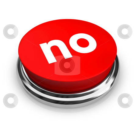 No - Red Button stock photo, A red button with the word No on it by Chris Lamphear