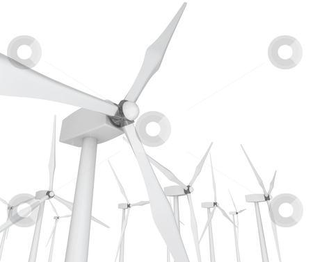 Wind Power - Turbines on White stock photo, Several wind turbines against a clean white background by Chris Lamphear