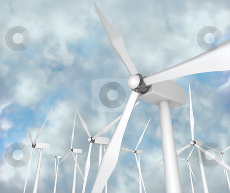 Wind Turbines - Alternative Energy stock photo, Several wind turbines against a blue cloudy sky by Chris Lamphear