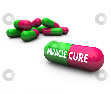 Miracle Cure - Pills stock photo, Close-up of some capsules with the words Miracle Cure on them by Chris Lamphear