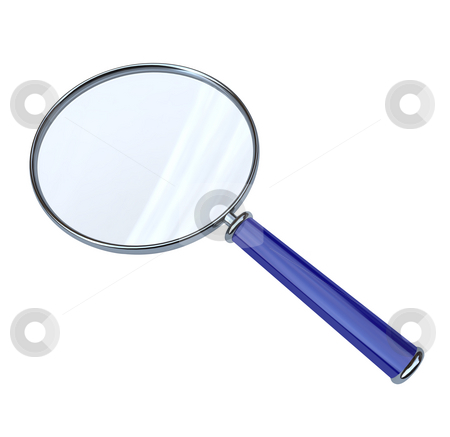 Magnifying Glass on White Background stock photo, A magnifying glass with blue handle isolated on a white background by Chris Lamphear