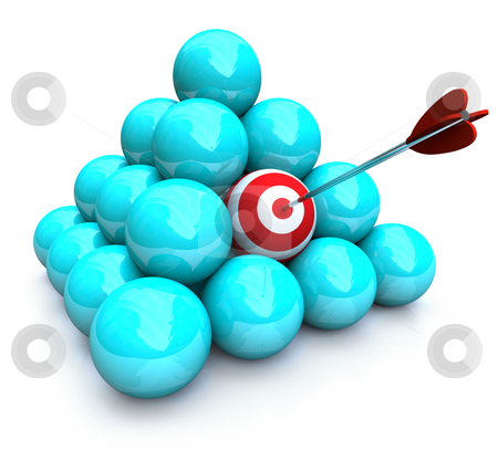 Hitting the Target - Marketing Pyramid stock photo, An arrow hits the target in a pyramid of balls - symolizing targeted marketing by Chris Lamphear
