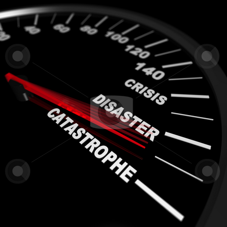 Speeding Toward a Catastrophe stock photo, A speedometer shows a needle pointing to catastrophe by Chris Lamphear