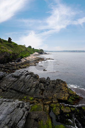 Newport Rhode Island Coastline stock photo, The coast of Newport Rhode Island as seen from the bottom of the famous 40 steps on the cliff walk. by Todd Arena
