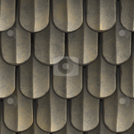Seamless Roof Shingles stock photo, A texture that looks like scales of armor or even tiled roof shingles. This image tiles seamlessly as a pattern. by Todd Arena