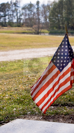 American Flag At Cemetery stock photo,  by Robert Norsworthy