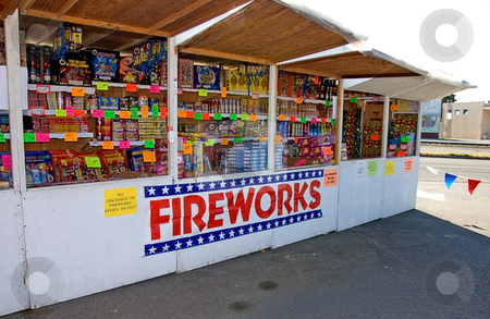 Fireworks Stand stock photo, This outdoor firework stand is a classic scene around the 4th of July holidays seen. by Valerie Garner