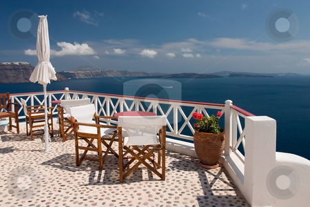 Santorini view from balcony stock photo, Beautiful view from balcony on the Santorini island by Wiktor Bubniak