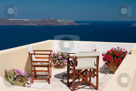 Summer balcony view stock photo, Beautiful view from balcony on the Santorini island by Wiktor Bubniak