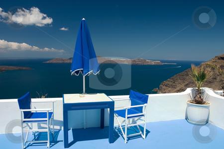 Summer blue balcony stock photo, Beautiful view from balcony on the Santorini volcano by Wiktor Bubniak