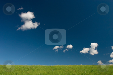 Abstract summer landscape stock photo, Green field and blue sky with cumulus clouds by Wiktor Bubniak