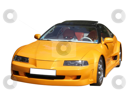 Sport car isolated stock photo, Yellow sport car isolated on white background by Desislava Dimitrova