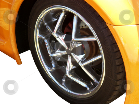 Wheels stock photo, Wheels close up on orange sport car by Desislava Dimitrova