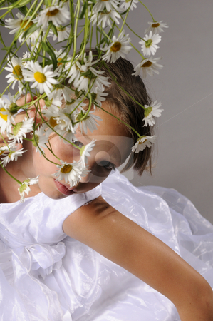 Beautiful girl stock photo, Cute girl with flowers by Dragos Iliescu