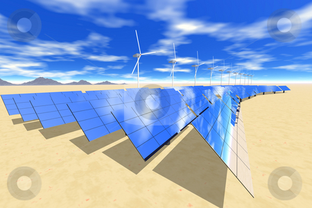 Solar3 stock photo, Solar electric panels in desert setting with wind turbines by Ira J Lyles Jr