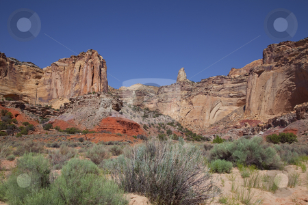 San Rafael Swell stock photo, View of red rock formations in San Rafael Swell with blue sky by Mark Smith