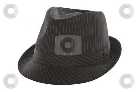 Black pinstripe fedora hat stock photo, Black pinstripe fedora hat isolated on white background by Chris Roselli