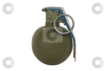 Green modern hand grenade stock photo, Green modern hand grenade isolated on white background by Chris Roselli