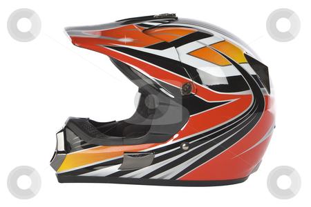 Motocross motorcycle helmet stock photo, Motocross motorcycle helmet isolated on white background by Chris Roselli