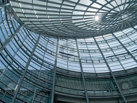 Building stock photo, An interesting glass ceiling on a modern building by Cora Reed