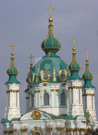 St. Andrew's Church Kiev Ukraine stock photo, St. Andrew's Church Kiev Ukraine from the Park by William Perry