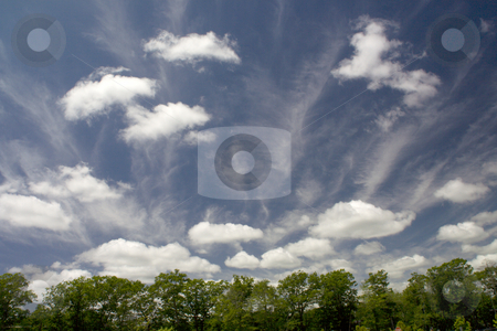Fair Weather Clouds stock photo, Fair Weather Clouds Blue Skies White clouds cumulus and cirrus cloudscape by William Perry